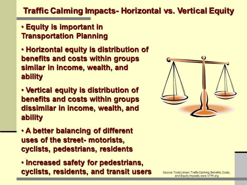 Traffic Calming Impacts- Horizontal vs. Vertical Equity Equity is important in Transportation Planning Equity is important in Transportation Planning