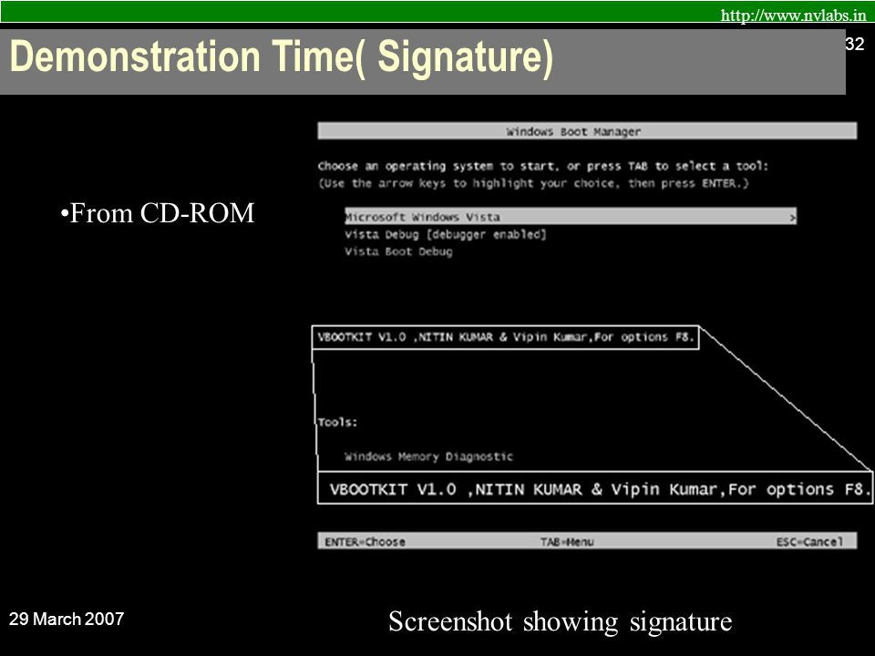 http://www.nvlabs.in 29 March 2007 32 From CD-ROM Screenshot showing signature Demonstration Time( Signature)
