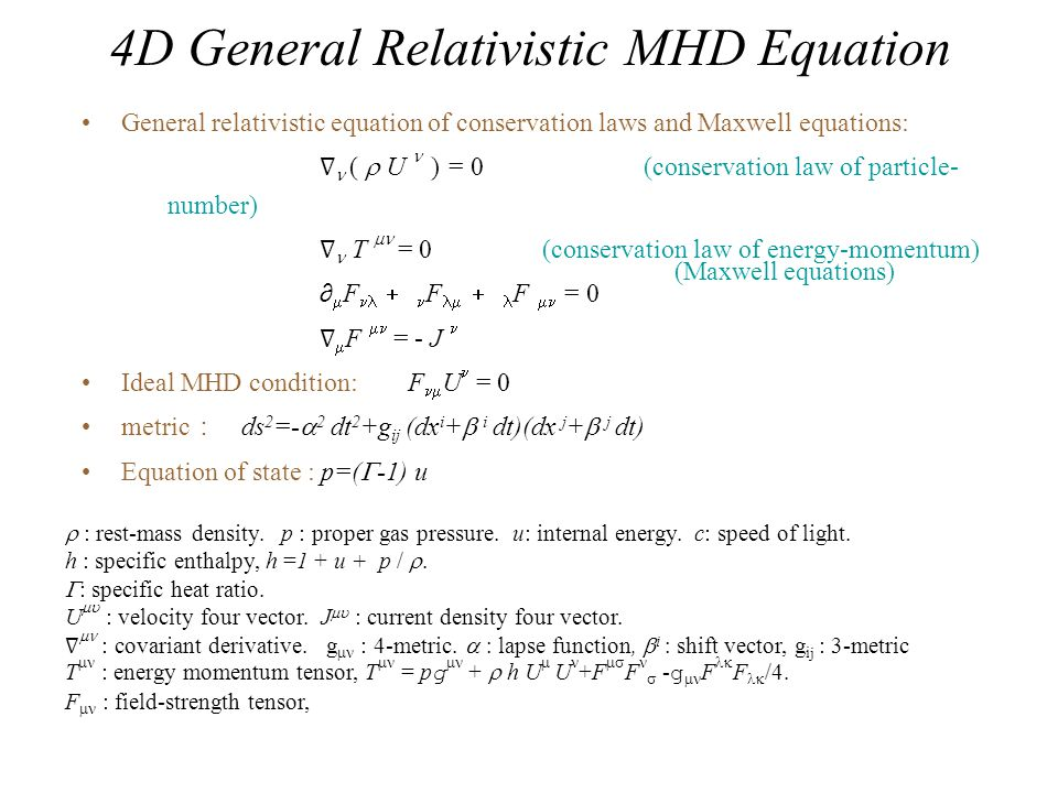 4D General Relativistic MHD Equation General relativistic equation of conservation laws and Maxwell equations: ∇  (  U  ) = 0 (conservation law of particle- number) ∇ T  = 0 (conservation law of energy-momentum) ∂  F  ∂ F   ∂ F  = 0 ∇  F  = - J Ideal MHD condition: F  U  = 0 metric : ds 2 =-  2 dt 2 +g ij (dx i +  i dt)(dx j +  j dt) Equation of state : p=(  -1) u  : rest-mass density.