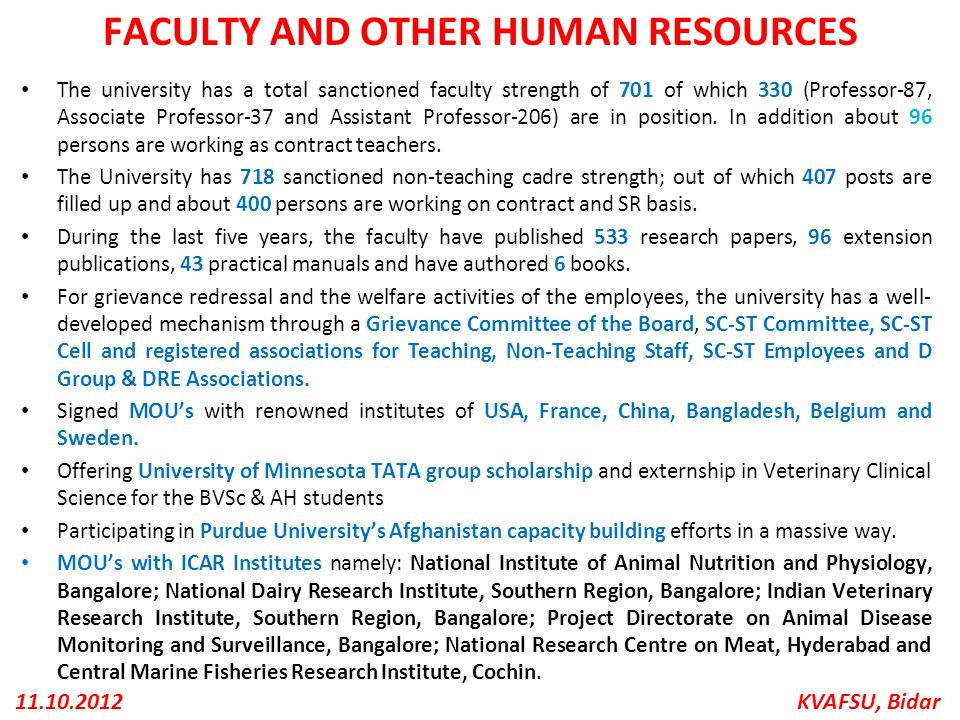 KVAFSU, Bidar11.10.2012 FACULTY AND OTHER HUMAN RESOURCES The university has a total sanctioned faculty strength of 701 of which 330 (Professor-87, As