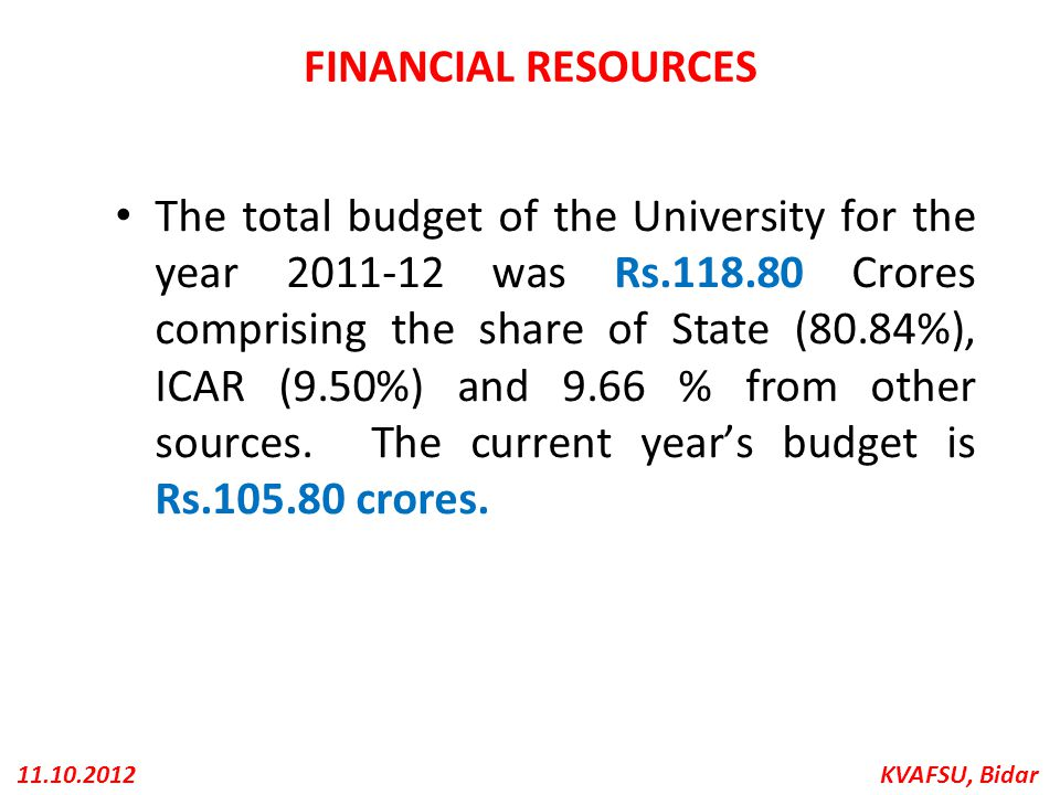 KVAFSU, Bidar11.10.2012 FINANCIAL RESOURCES The total budget of the University for the year 2011-12 was Rs.118.80 Crores comprising the share of State