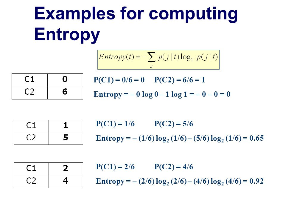 Alternative Splitting Criteria based on INFO  Entropy at a given node t: (NOTE: p( j | t) is the relative frequency of class j at node t).