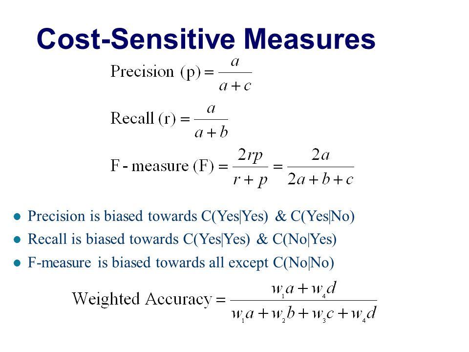 Computing Cost of Classification Cost Matrix PREDICTED CLASS ACTUAL CLASS C(i j) +- +100 -10 Model M 1 PREDICTED CLASS ACTUAL CLASS +- +15040 -60250 M