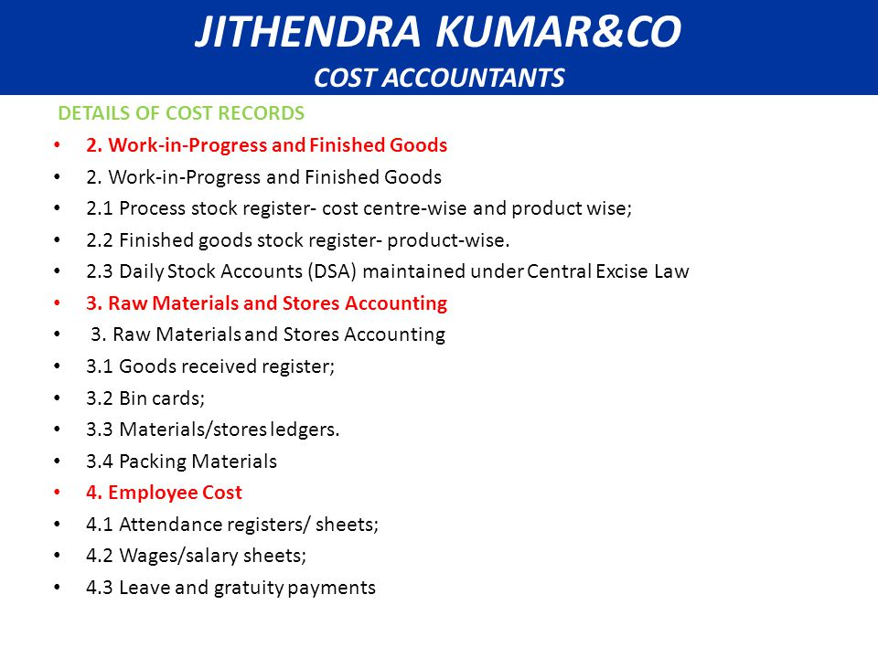 A DETAILS OF COST RECORDS 2.