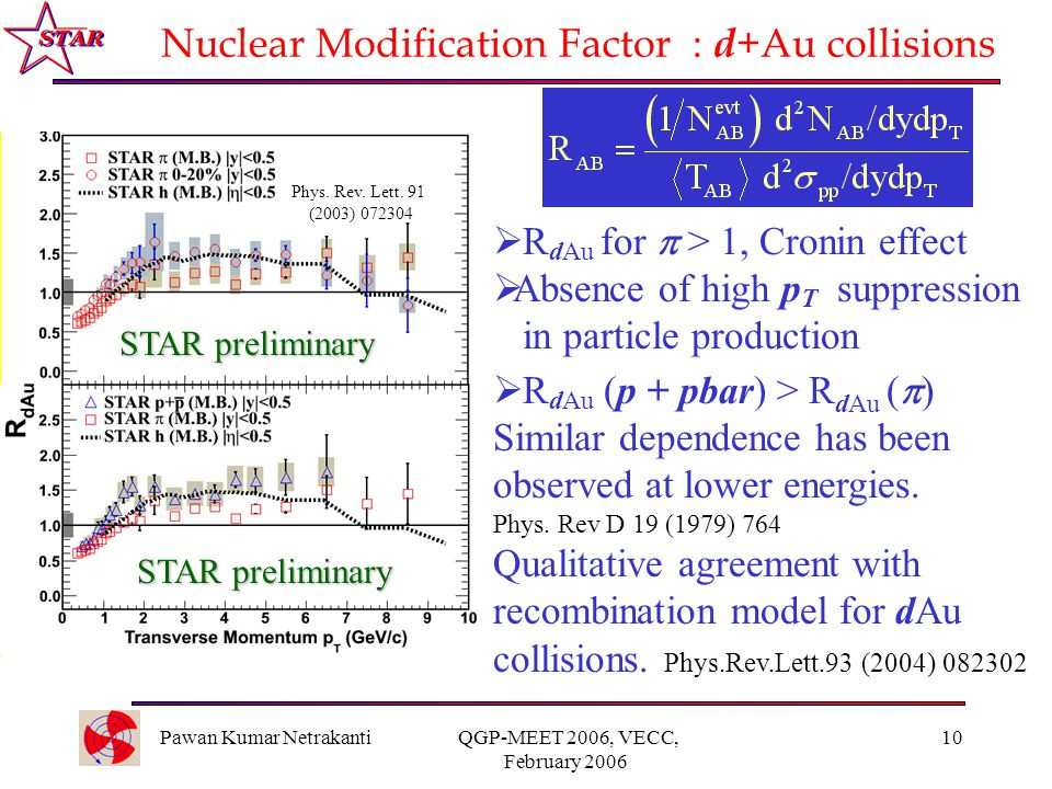 Pawan Kumar Netrakanti QGP-MEET 2006, VECC, February 2006 10 Nuclear Modification Factor : d +Au collisions  R dAu for  > 1, Cronin effect  Absence of high p T suppression in particle production  R dAu (p + pbar) > R dAu (  ) Similar dependence has been observed at lower energies.
