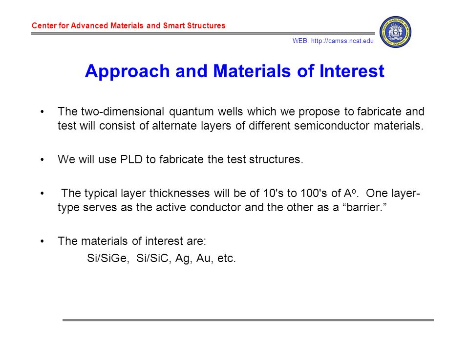 Center for Advanced Materials and Smart Structures WEB: http://camss.ncat.edu Approach and Materials of Interest The two-dimensional quantum wells which we propose to fabricate and test will consist of alternate layers of different semiconductor materials.