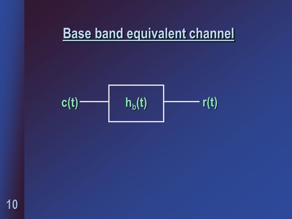 10 Base band equivalent channel h b (t) c(t)r(t)