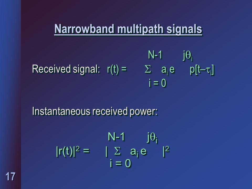 17 Narrowband multipath signals N-1 j  i N-1 j  i Received signal: r(t) =  a i e p[t–  i ] i = 0 i = 0 Instantaneous received power: N-1 j  i N-1 j  i Received signal: r(t) =  a i e p[t–  i ] i = 0 i = 0 Instantaneous received power: N-1 j  i |r(t)| 2 = |  a i e | 2 i = 0 i = 0 N-1 j  i |r(t)| 2 = |  a i e | 2 i = 0 i = 0