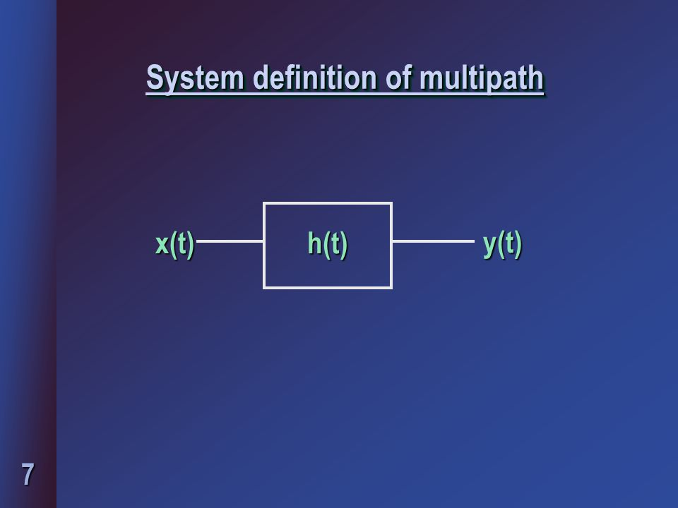 7 System definition of multipath h(t) x(t)y(t)