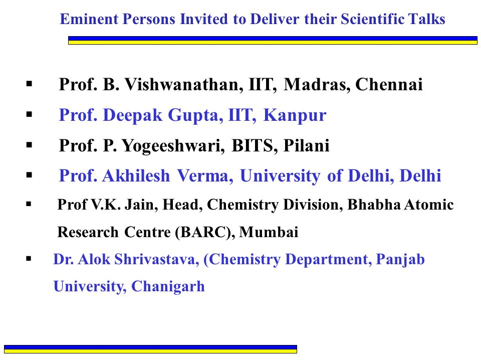 Eminent Persons Invited to Deliver their Scientific Talks  Prof. B. Vishwanathan, IIT, Madras, Chennai  Prof. Deepak Gupta, IIT, Kanpur  Prof. P. Y