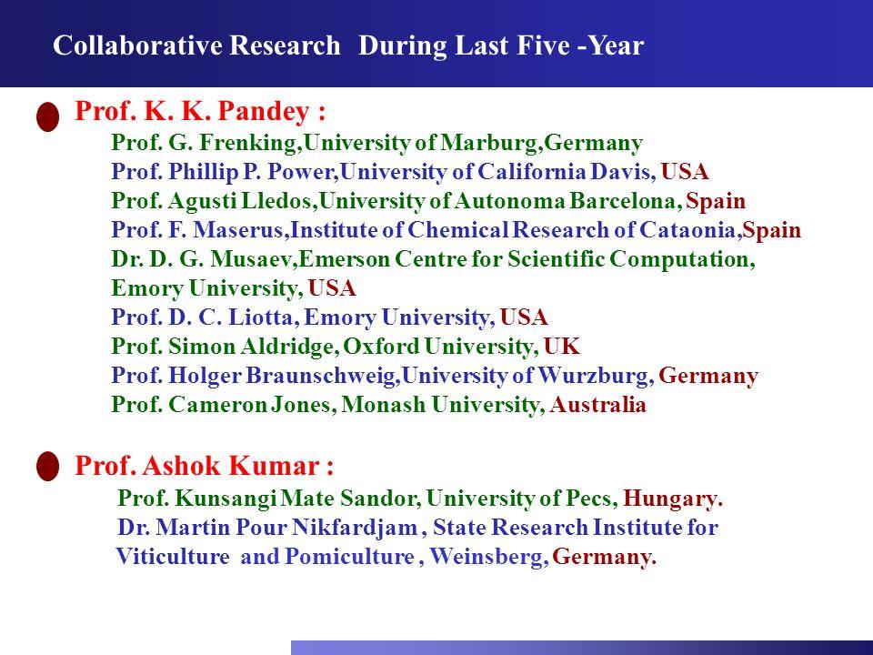 Collaborative Research During Last Five -Year Prof. K. K. Pandey : Prof. G. Frenking,University of Marburg,Germany Prof. Phillip P. Power,University o