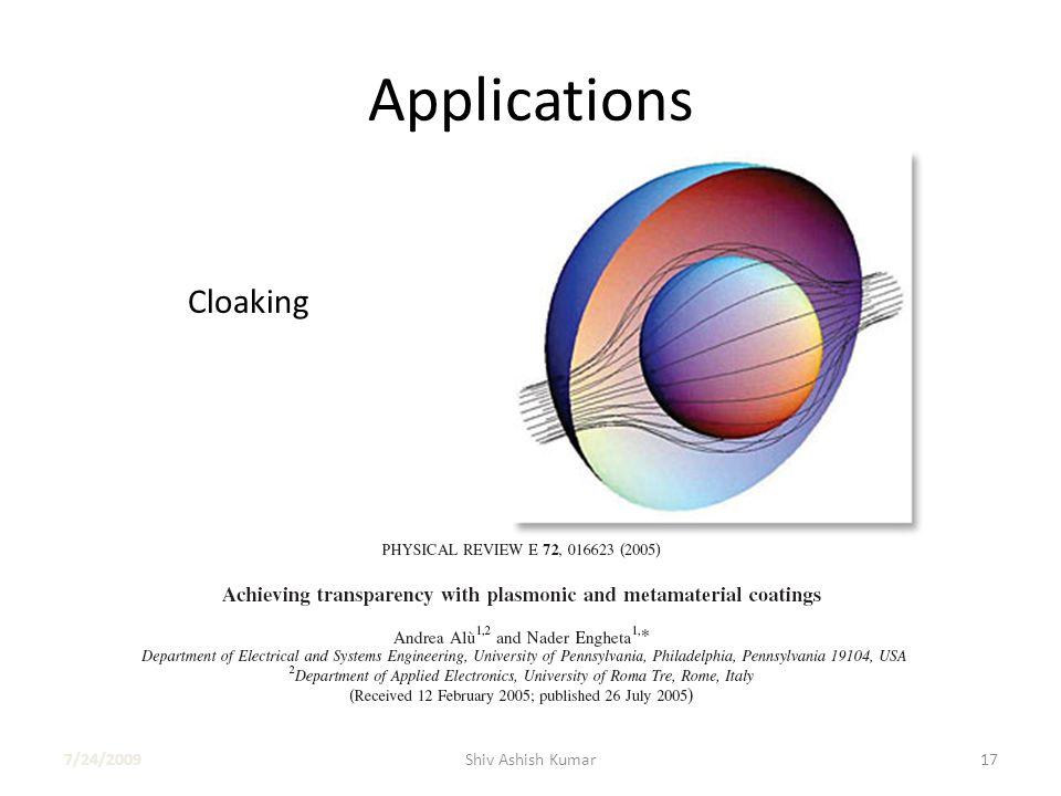 Applications Cloaking 7/24/200917Shiv Ashish Kumar