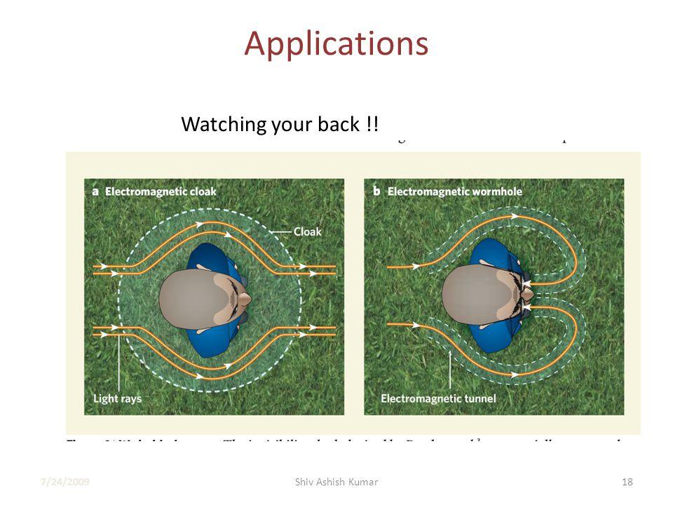 Applications Watching your back !! 7/24/200918Shiv Ashish Kumar
