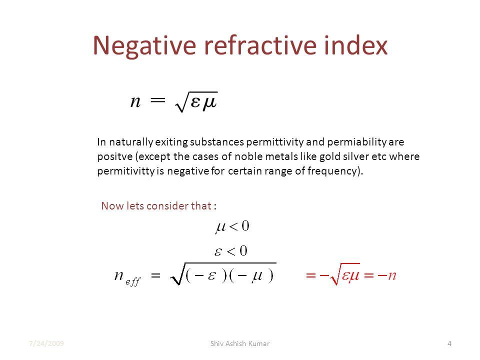 Negative Refractive index in optics 7/24/200915Shiv Ashish Kumar