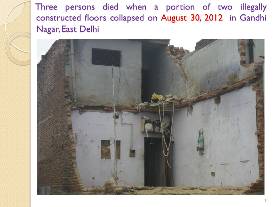 Three persons died when a portion of two illegally constructed floors collapsed on August 30, 2012 in Gandhi Nagar, East Delhi 11