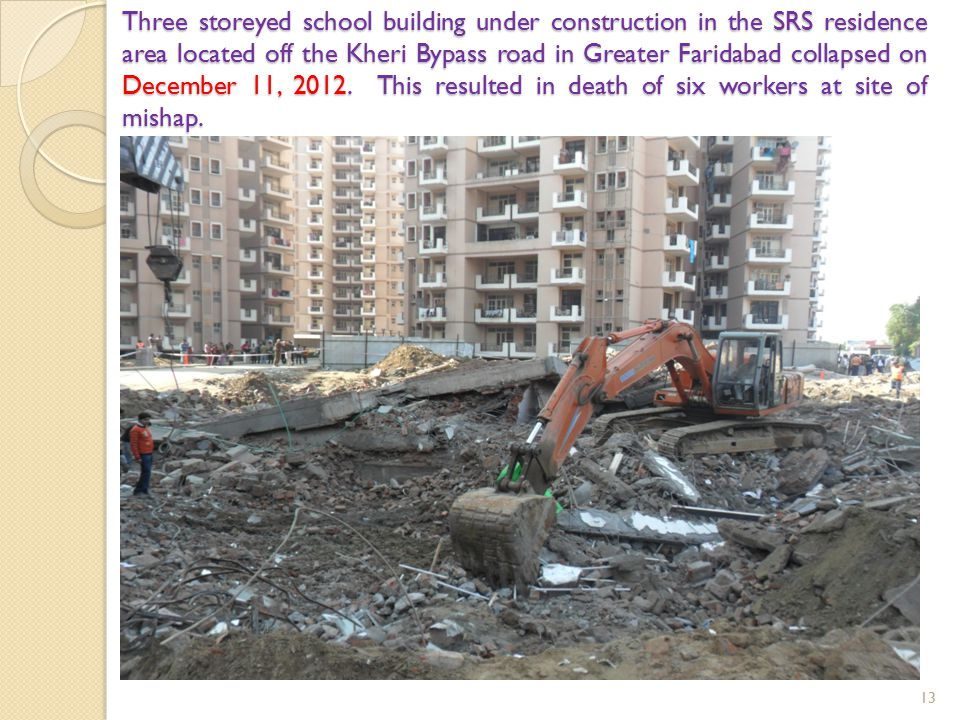 Three storeyed school building under construction in the SRS residence area located off the Kheri Bypass road in Greater Faridabad collapsed on December 11, 2012.