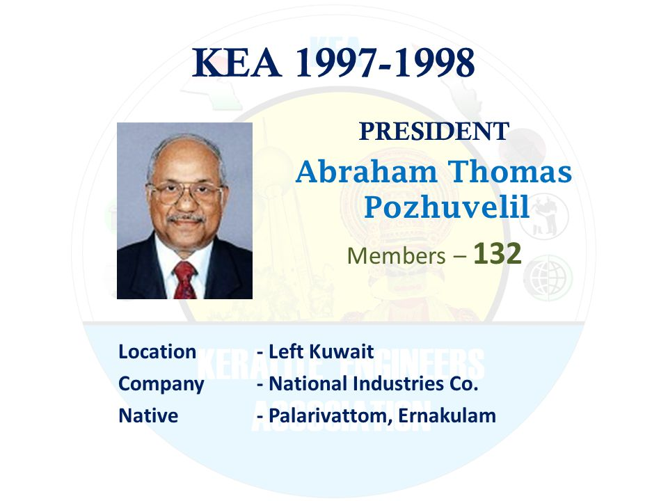 KEA 1997-1998 PRESIDENT Abraham Thomas Pozhuvelil Members – 132 Location - Left Kuwait Company - National Industries Co.