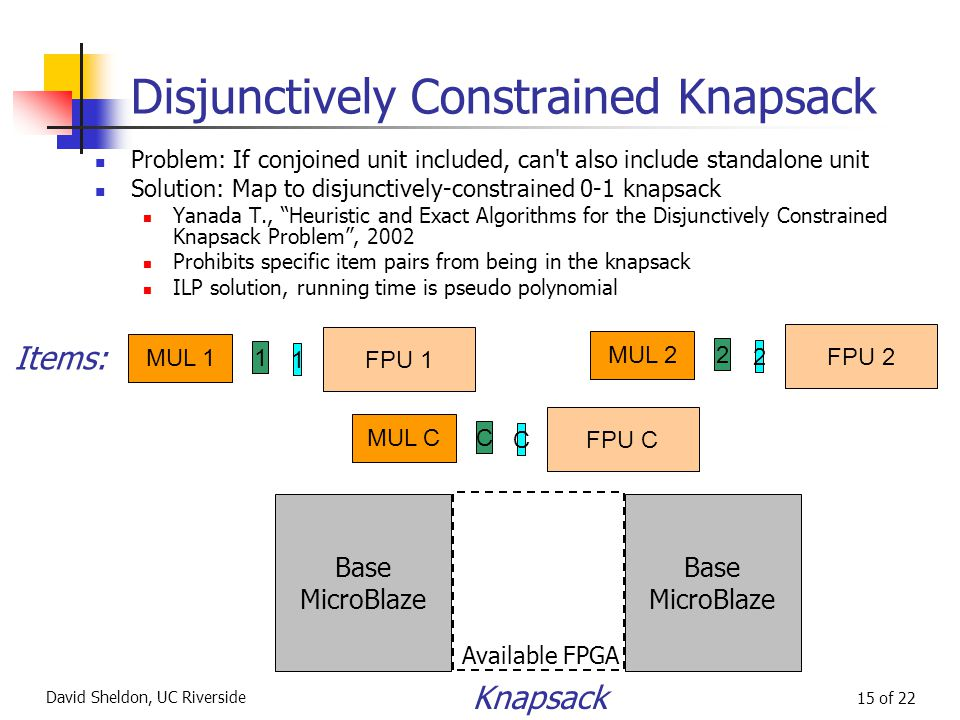 David Sheldon, UC Riverside 15 of 22 Disjunctively Constrained Knapsack Problem: If conjoined unit included, can t also include standalone unit Solution: Map to disjunctively-constrained 0-1 knapsack Yanada T., Heuristic and Exact Algorithms for the Disjunctively Constrained Knapsack Problem , 2002 Prohibits specific item pairs from being in the knapsack ILP solution, running time is pseudo polynomial Base MicroBlaze Available FPGA Base MicroBlaze Knapsack MUL 1 1 1 FPU 1 MUL 2 2 2 FPU 2 Items: MUL C C C FPU C