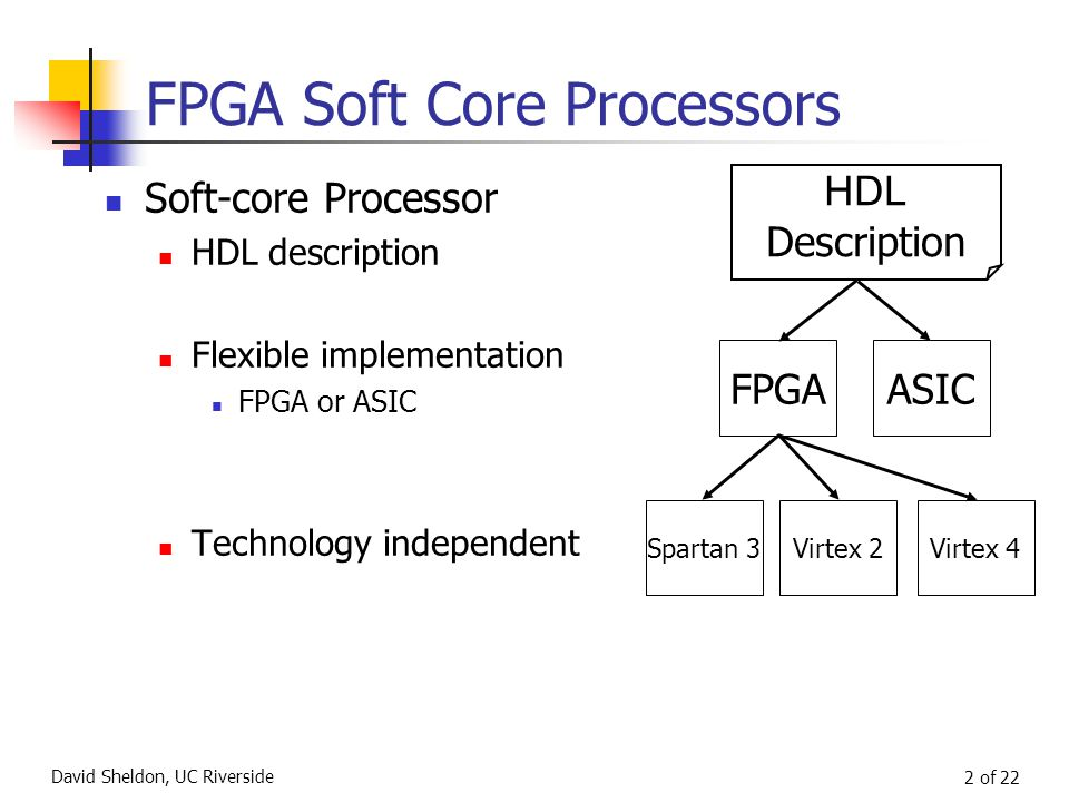David Sheldon, UC Riverside 2 of 22 FPGA Soft Core Processors Soft-core Processor HDL description Flexible implementation FPGA or ASIC Technology independent HDL Description FPGAASIC Spartan 3Virtex 2Virtex 4