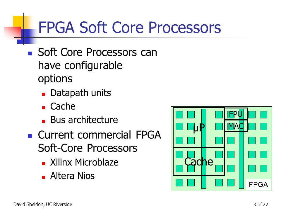 David Sheldon, UC Riverside 3 of 22 FPGA Soft Core Processors Soft Core Processors can have configurable options Datapath units Cache Bus architecture Current commercial FPGA Soft-Core Processors Xilinx Microblaze Altera Nios FPGA μPμP Cache FPU MAC
