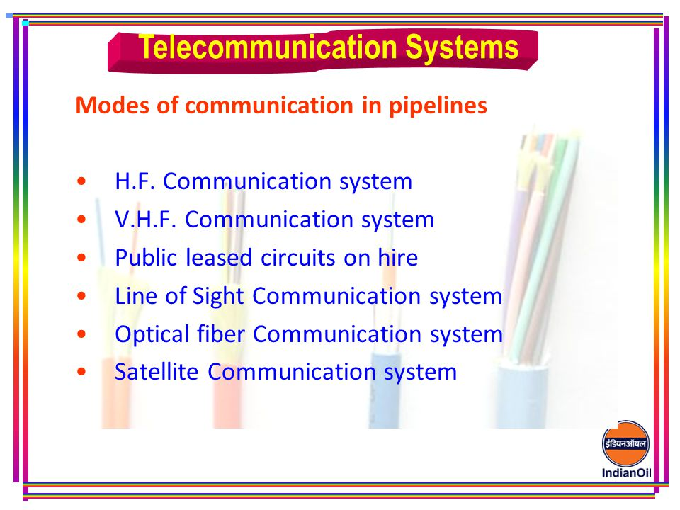 Modes of communication in pipelines H.F.Communication system V.H.F.