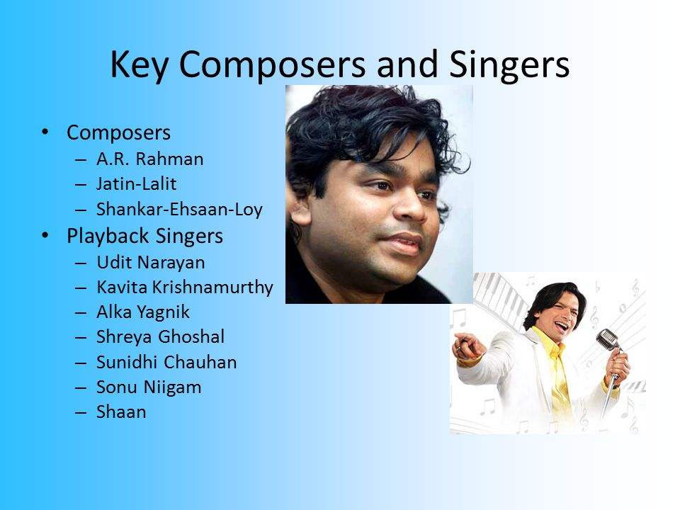 Key Composers and Singers Composers – A.R.