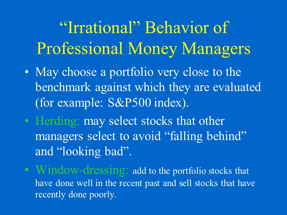 Irrational Behavior of Professional Money Managers May choose a portfolio very close to the benchmark against which they are evaluated (for example: S&P500 index).