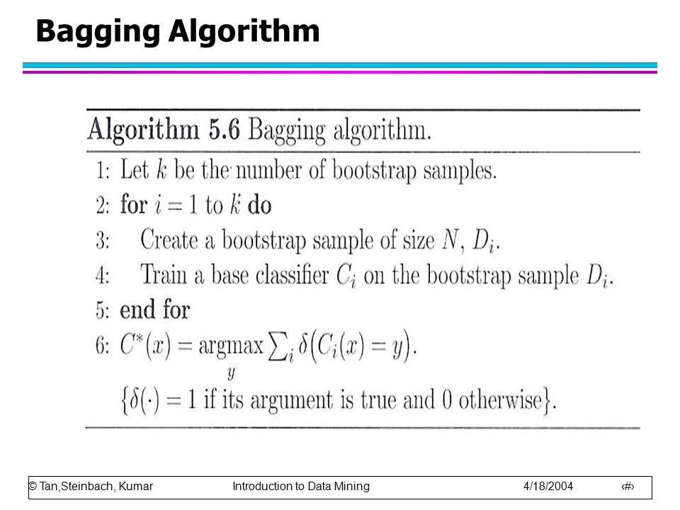 © Tan,Steinbach, Kumar Introduction to Data Mining 4/18/2004 10 Bagging Algorithm