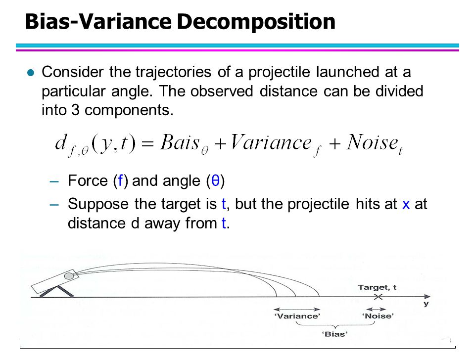 © Tan,Steinbach, Kumar Introduction to Data Mining 4/18/2004 6 Bias-Variance Decomposition l Consider the trajectories of a projectile launched at a p