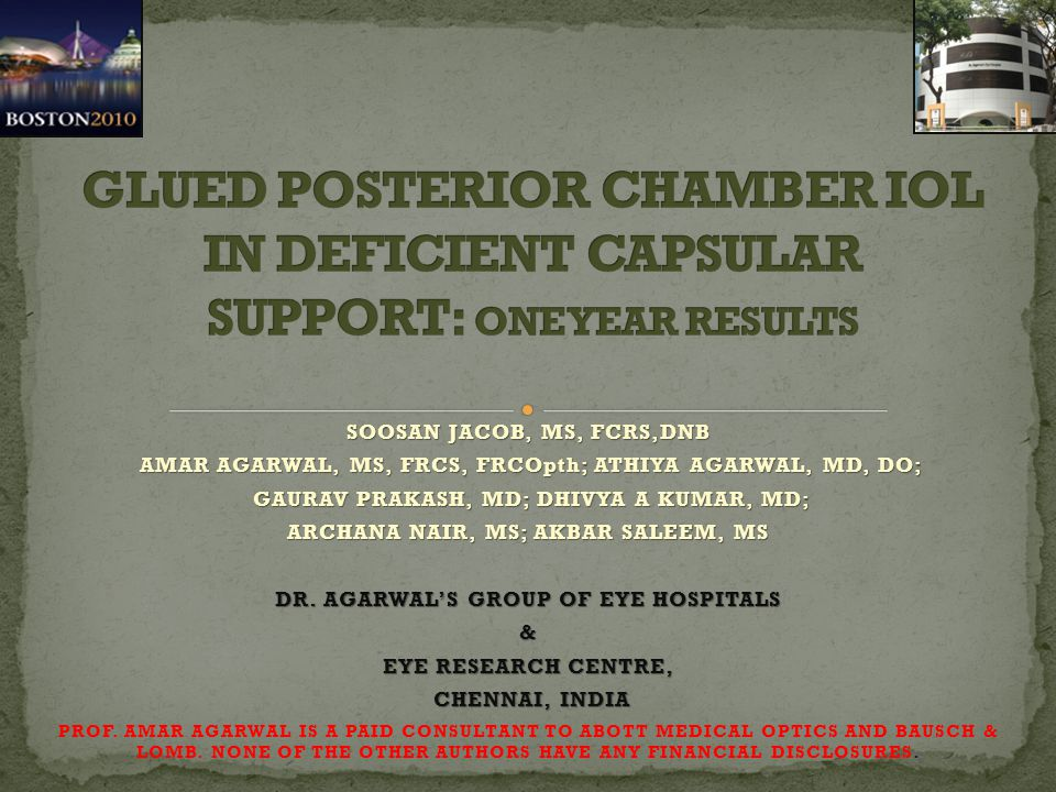 BACKGROUND : OPTIONS FOR CORRECTION OF APHAKIA IN THE ABSENCE OF ADEQUATE CAPSULAR SUPPORT ARE – ANTERIOR CHAMBER IOL, IRIS FIXATED IOL, SUTURED SCLERAL FIXATED IOL AND GLUED IOL BACKGROUND : OPTIONS FOR CORRECTION OF APHAKIA IN THE ABSENCE OF ADEQUATE CAPSULAR SUPPORT ARE – ANTERIOR CHAMBER IOL, IRIS FIXATED IOL, SUTURED SCLERAL FIXATED IOL AND GLUED IOL PURPOSE : TO EVALUATE THE VISUAL OUTCOME AND COMPLICATIONS OF EYES OPERATED WITH FIBRIN GLUE ASSISTED POSTERIOR CHAMBER IOL IMPLANTATION IN EYES WITH DEFICIENT POSTERIOR CAPSULE AT ONE YEAR FOLLOW UP PURPOSE : TO EVALUATE THE VISUAL OUTCOME AND COMPLICATIONS OF EYES OPERATED WITH FIBRIN GLUE ASSISTED POSTERIOR CHAMBER IOL IMPLANTATION IN EYES WITH DEFICIENT POSTERIOR CAPSULE AT ONE YEAR FOLLOW UP