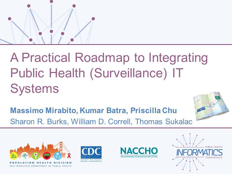 A Practical Roadmap to Integrating Public Health (Surveillance) IT Systems Massimo Mirabito, Kumar Batra, Priscilla Chu Sharon R. Burks, William D. Co