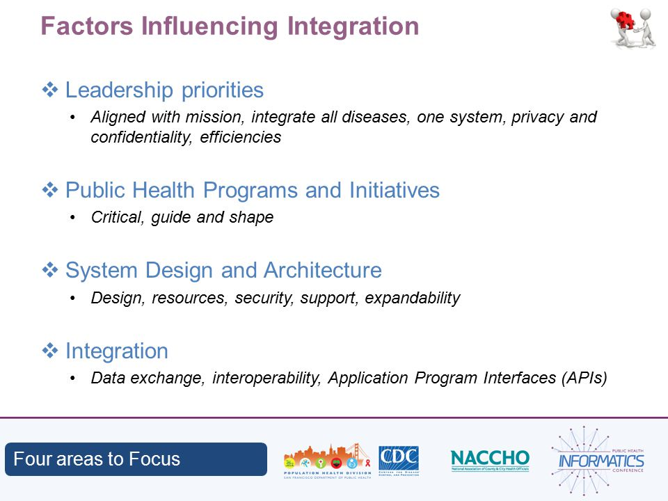 Factors Influencing Integration  Leadership priorities Aligned with mission, integrate all diseases, one system, privacy and confidentiality, efficiencies  Public Health Programs and Initiatives Critical, guide and shape  System Design and Architecture Design, resources, security, support, expandability  Integration Data exchange, interoperability, Application Program Interfaces (APIs) Four areas to Focus