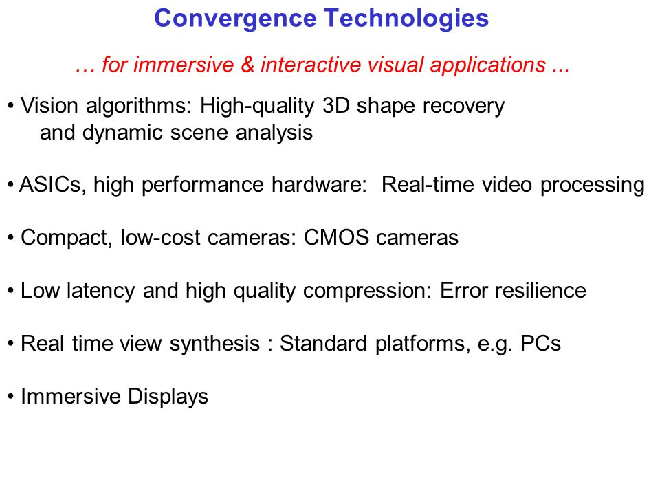 Quality of Service for Tele-presence Critical Issues High quality for immersive experience –Artifact free recovery of 3D shape from video streams –Eff