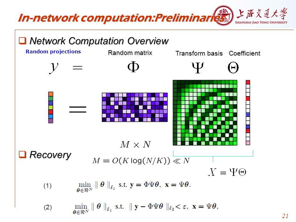 21 In-network computation:Preliminaries  Network Computation Overview  Recovery Random projections Transform basis Coefficient Random matrix (1) (2)