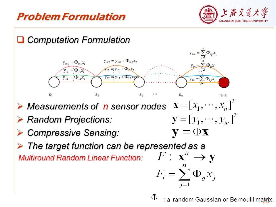 22 Problem Formulation  Computation Formulation  Measurements of n sensor nodes  Random Projections:  Compressive Sensing:  The target function can be represented as a : a random Gaussian or Bernoulli matrix.