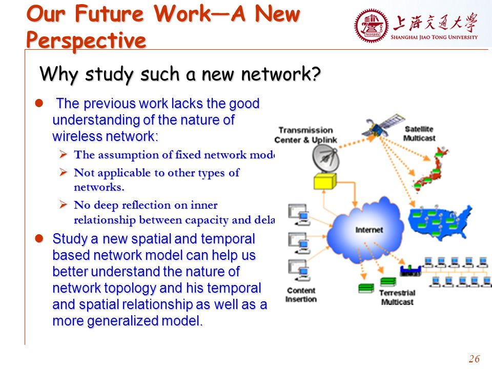 26 Our Future Work—A New Perspective The previous work lacks the good understanding of the nature of wireless network:  The assumption of fixed network model.