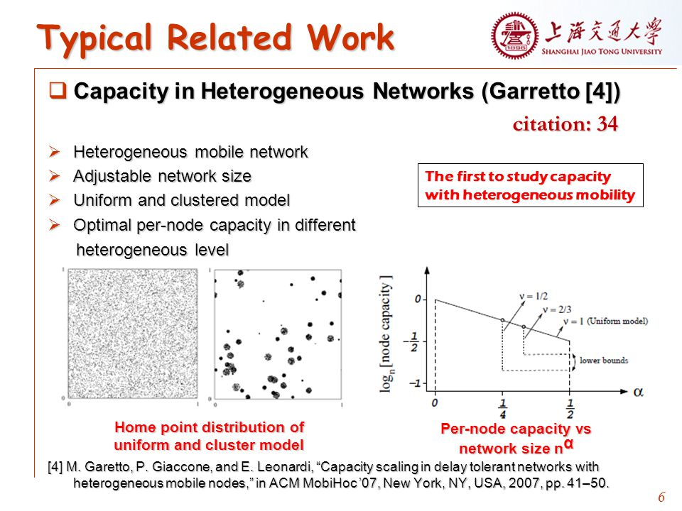 6 Typical Related Work  Capacity in Heterogeneous Networks (Garretto [4]) citation: 34 citation: 34  Heterogeneous mobile network  Adjustable network size  Uniform and clustered model  Optimal per-node capacity in different heterogeneous level heterogeneous level [4] M.
