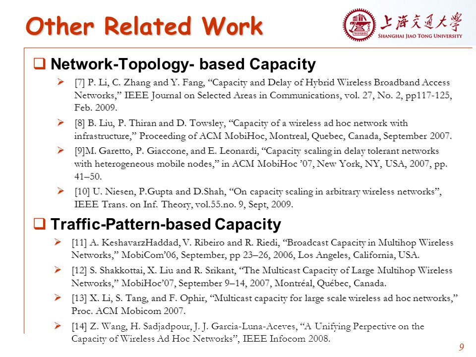9 Other Related Work  Network-Topology- based Capacity  [7] P.