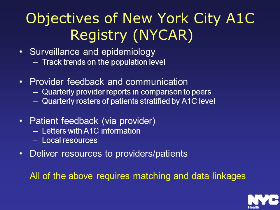 Objectives of New York City A1C Registry (NYCAR) Surveillance and epidemiology –Track trends on the population level Provider feedback and communication –Quarterly provider reports in comparison to peers –Quarterly rosters of patients stratified by A1C level Patient feedback (via provider) –Letters with A1C information –Local resources Deliver resources to providers/patients All of the above requires matching and data linkages
