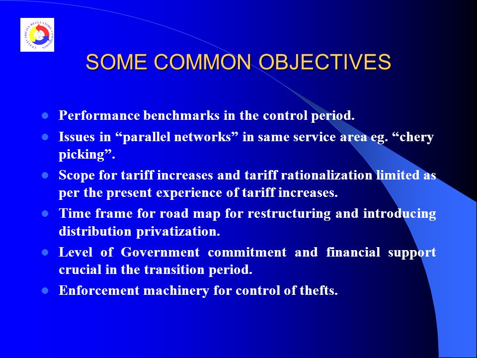 SOME COMMON OBJECTIVES Performance benchmarks in the control period.
