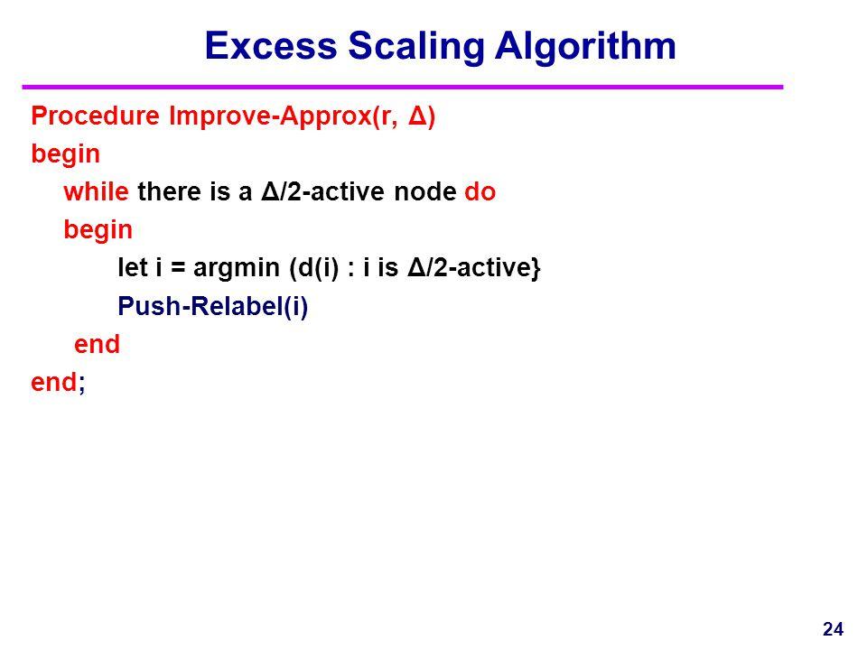 24 Excess Scaling Algorithm Procedure Improve-Approx(r, Δ) begin while there is a Δ/2-active node do begin let i = argmin (d(i) : i is Δ/2-active} Push-Relabel(i) end end;