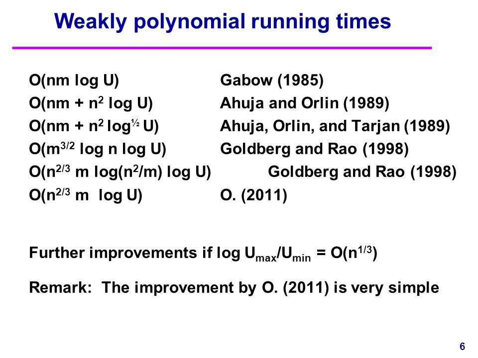 Weakly polynomial running times O(nm log U)Gabow (1985) O(nm + n 2 log U)Ahuja and Orlin (1989) O(nm + n 2 log ½ U)Ahuja, Orlin, and Tarjan (1989) O(m 3/2 log n log U) Goldberg and Rao (1998) O(n 2/3 m log(n 2 /m) log U)Goldberg and Rao (1998) O(n 2/3 m log U)O.