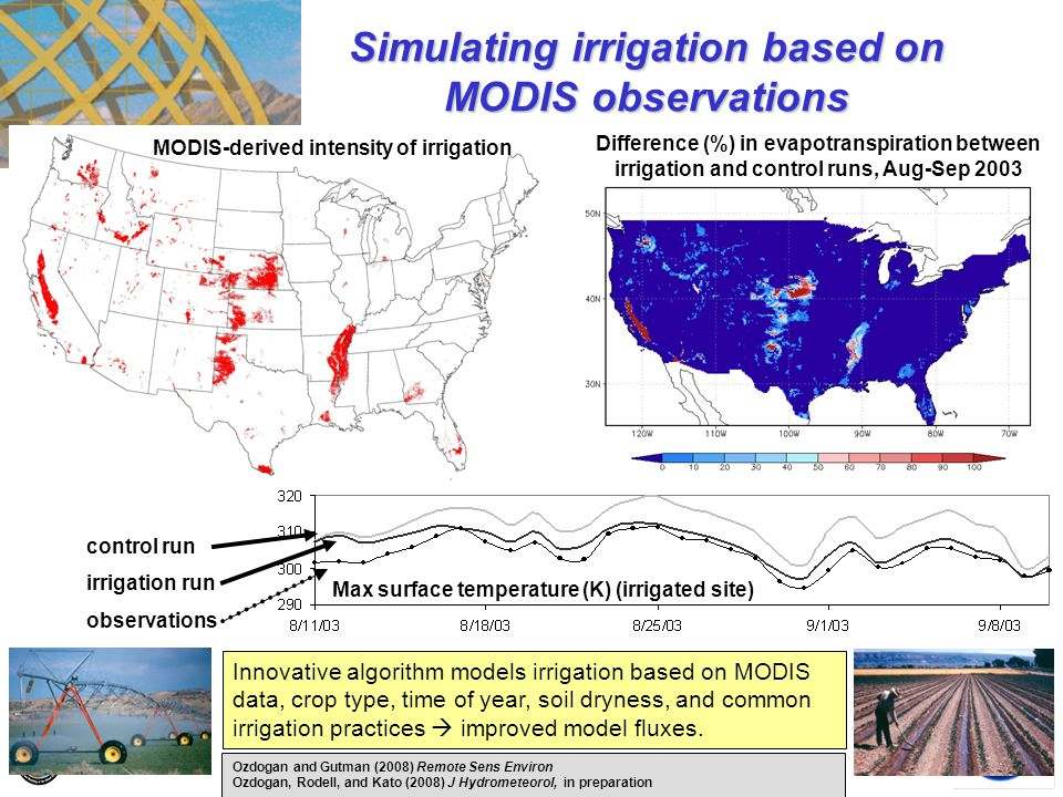 control run irrigation run observations Innovative algorithm models irrigation based on MODIS data, crop type, time of year, soil dryness, and common
