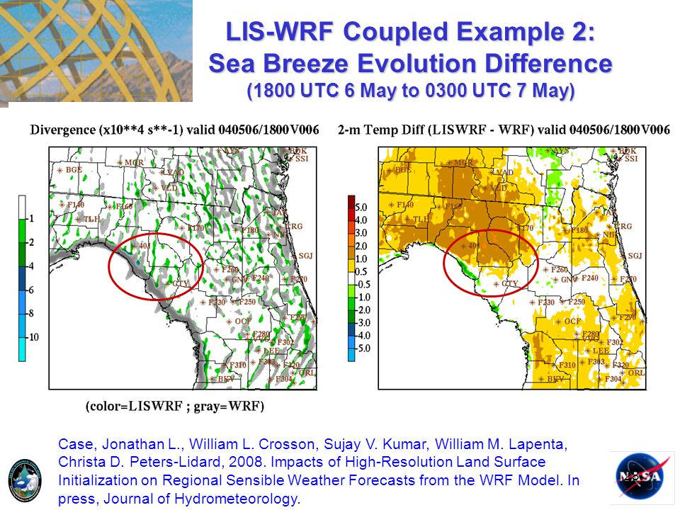 28 LIS-WRF Coupled Example 2: Sea Breeze Evolution Difference (1800 UTC 6 May to 0300 UTC 7 May) Case, Jonathan L., William L. Crosson, Sujay V. Kumar