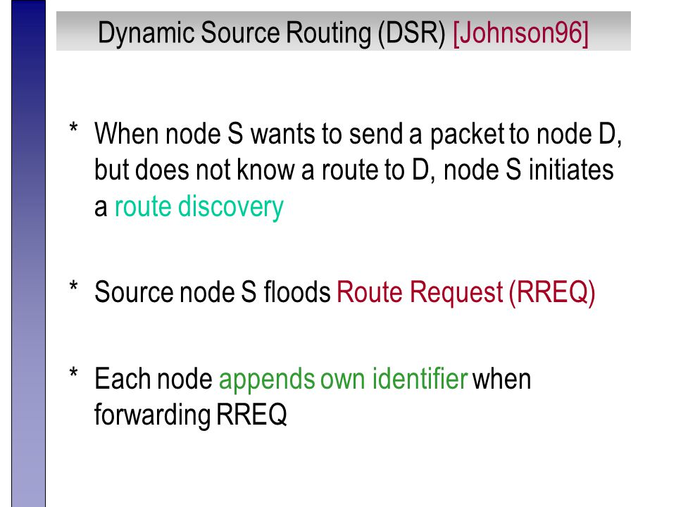 Dynamic Source Routing (DSR) [Johnson96] *When node S wants to send a packet to node D, but does not know a route to D, node S initiates a route discovery *Source node S floods Route Request (RREQ) *Each node appends own identifier when forwarding RREQ