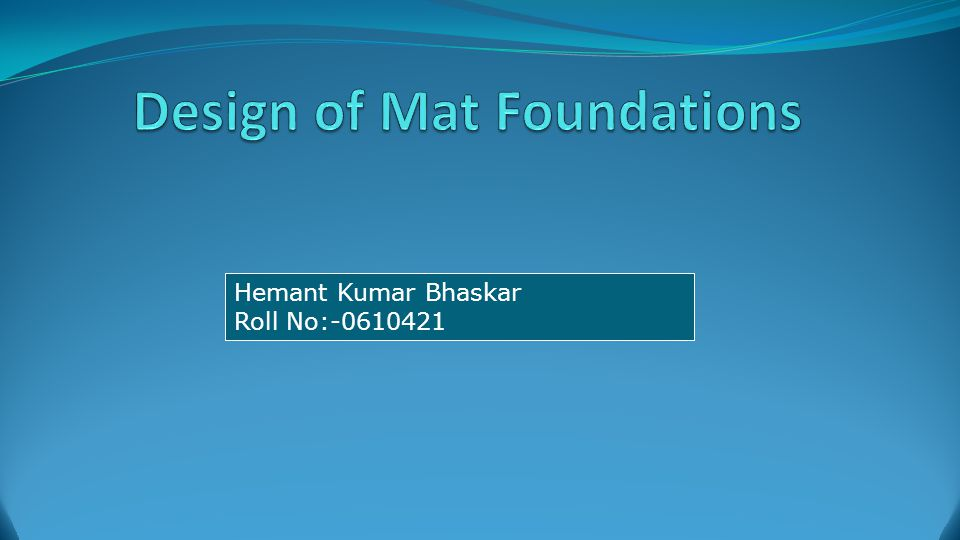 Design of Mat Foundations Differential Settlement of Mat Foundations (American Concrete Institute Committee 336, 1988) Width of raft Moment of inertia of structure per unit length at right angles to B Modulus of Elasticity of Soil Modulus of Elasticity of Material used in Structure 12 Rigidity Factor,