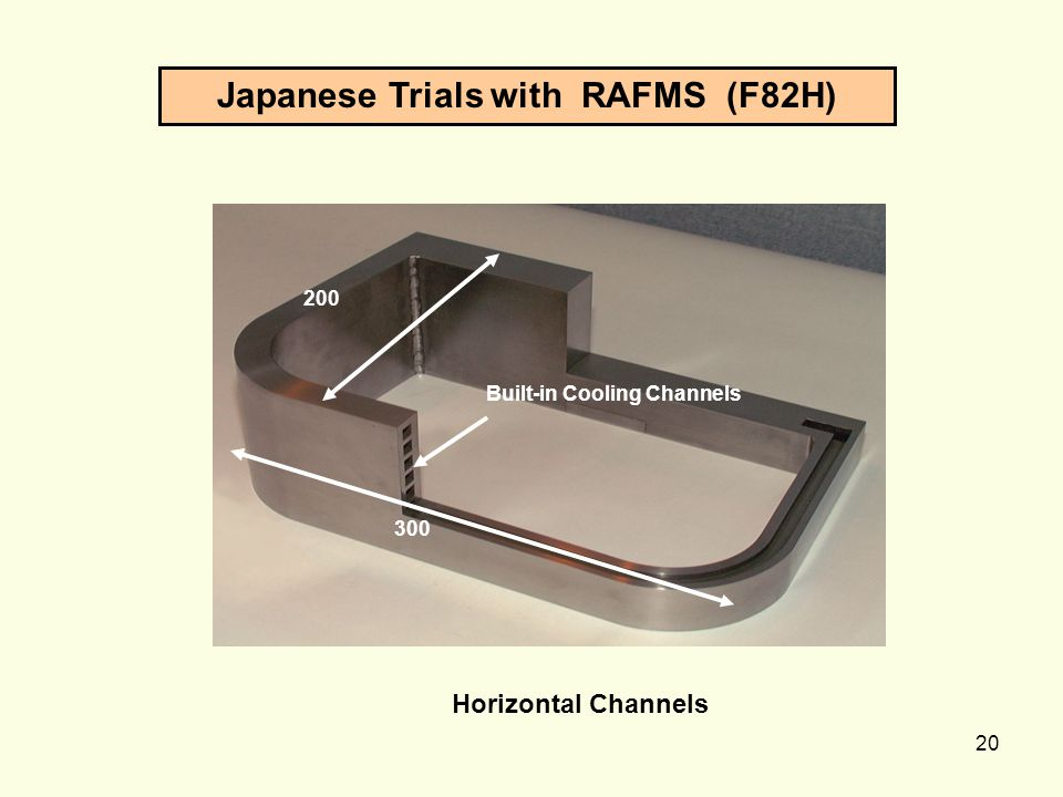 20 300 200 Built-in Cooling Channels Japanese Trials with RAFMS (F82H) Horizontal Channels