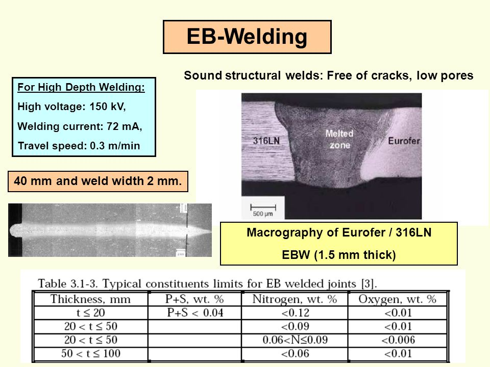 29 EB-Welding For High Depth Welding: High voltage: 150 kV, Welding current: 72 mA, Travel speed: 0.3 m/min 40 mm and weld width 2 mm. Macrography of