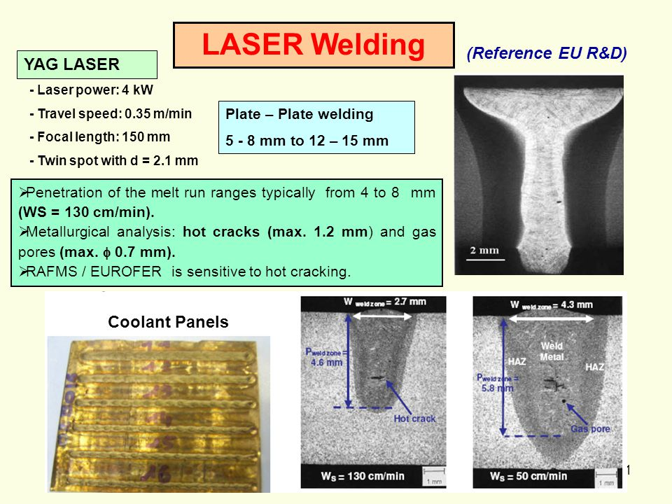 31 LASER Welding Plate – Plate welding 5 - 8 mm to 12 – 15 mm YAG LASER  Penetration of the melt run ranges typically from 4 to 8 mm (WS = 130 cm/min