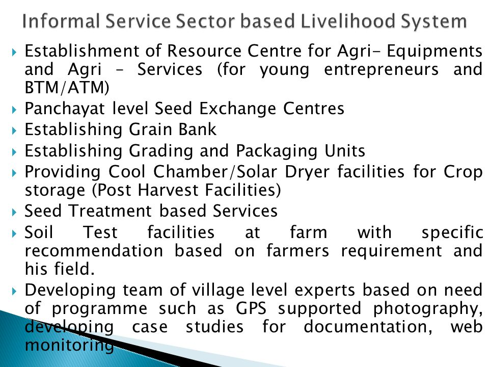  Establishment of Resource Centre for Agri- Equipments and Agri – Services (for young entrepreneurs and BTM/ATM)  Panchayat level Seed Exchange Centres  Establishing Grain Bank  Establishing Grading and Packaging Units  Providing Cool Chamber/Solar Dryer facilities for Crop storage (Post Harvest Facilities)  Seed Treatment based Services  Soil Test facilities at farm with specific recommendation based on farmers requirement and his field.
